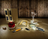 Composition of old supplyes — Stock Photo