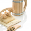 Bast massager hairbrush and mug — ストック写真