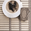 Stock Photo: Coffee composition of cappuchino on mat
