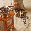 Stock Photo: Coffee in bag cinnamon and coffee mill