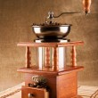 Coffee mill with coffee beans composition — Photo