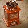 Coffee mill on sacking — Stock Photo #5078006