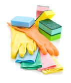 Composition of colored rags, gloves and sponges — Stock Photo