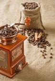 Coffee in bag cinnamon and coffee mill — Stock Photo