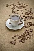 Grãos de café e café — Foto Stock
