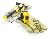 Gloves with tools for building — Stock Photo