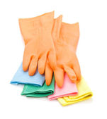 Gloves on colored rags — Stock Photo