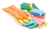 Gloves rags and sponges — Stock Photo