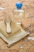 Group of objects on cork wood — Stock Photo