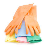 Pair of gloves on rags — Stock Photo
