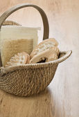 One basket on wooden background — Stock Photo