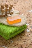 Vestito per la balneazione su legno sughero — Foto Stock
