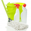 Two bottles bucket and mop — Stock Photo