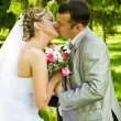 Wedding pair kisses — Foto Stock