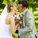 Wedding pair kisses — Stock Photo
