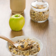 Muesli apple and mortar — Stock Photo