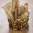 Stockfoto: Wooden bucket for bathing