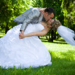 Wedding couple kiss in the park — Stock Photo