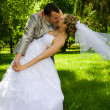 The groom holds the bride in park — Stock Photo