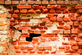 Old destroyed brick wall — Foto Stock