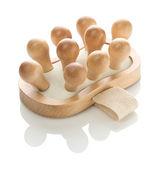 Massageador de madeira isolada — Foto Stock