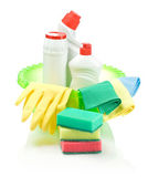 Supplies for cleaning in green basin — Stock Photo