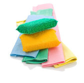Two sponges on rags — Stock Photo