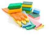 Stack of glowes rags and sponges — Stock Photo