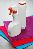 Two bottles on towels — Stock Photo
