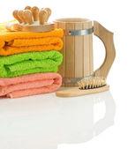 Handdukar med träföremål — Stockfoto