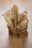Seau en bois pour le bain — Photo
