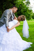 Young married pair posed — Stock Photo