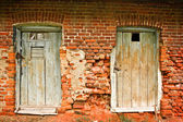 Two old doors and brick wall — 图库照片