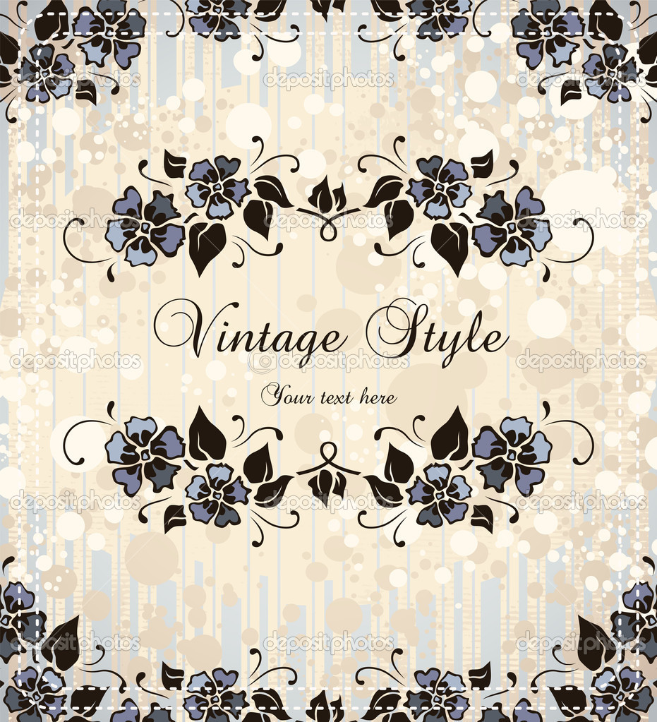Vintage frame with forget-me-not, vector format — Stock Vector #4102963