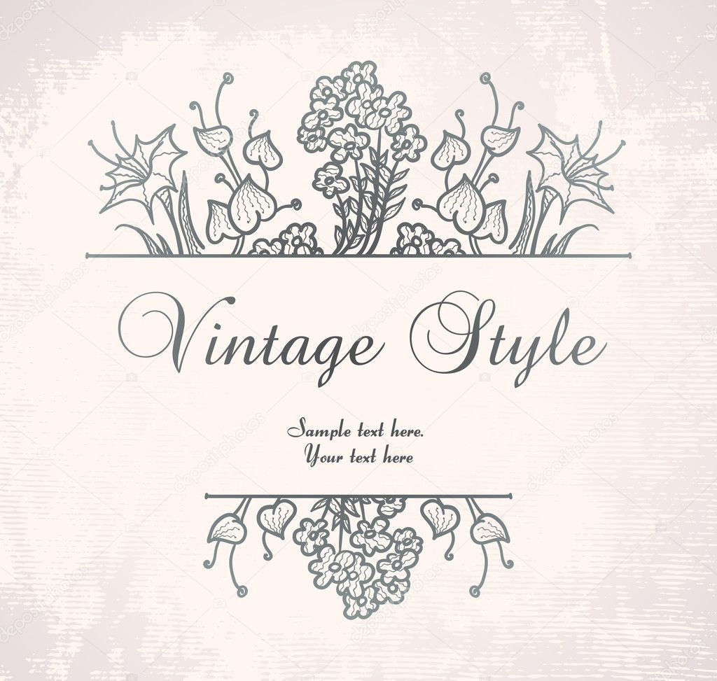 Vintage floral frame on pink backdrop, vector format  Image vectorielle #4241715