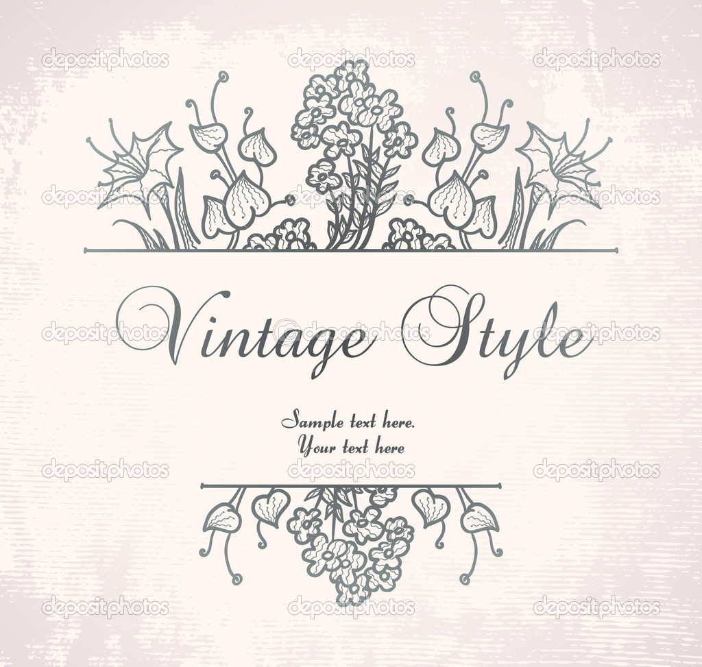 Vintage floral frame on pink backdrop, vector format  Grafika wektorowa #4241715