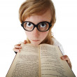 Funny woman in big glasses with book — Stock Photo