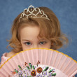 Stock Photo: Portrait of young girl with Oriental fan