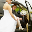 Sexual bride and groom in car — Stock Photo