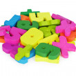 Color set of toys for training to mathematician - Stock Photo