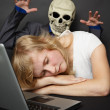 Stock Photo: Nightmare visited slumbering young woman