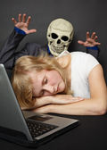 Nightmare visited slumbering young woman — Stock Photo
