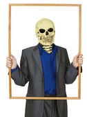 Masked man skeleton, placed himself in frame — Stock Photo