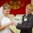 Laughing bride and groom - Stock Photo