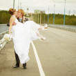Royalty-Free Stock Photo: Groom carries his bride in his arms on bridge