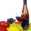 Still life with bottle of wine, fruit and glass — Stock Photo