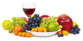Big still-life with fruit and wine glass — Stock Photo