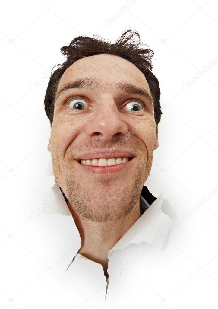 Crazy funny man opened his eyes stock image