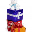 Toy rabbit, and Christmas gifts on white — Stock Photo