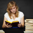 Evening reading of fiction — Stock Photo
